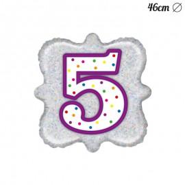 Palloncino Numero 5 Foil Quadrato 46 cm