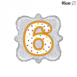 Palloncino Numero 6 Foil Quadrato 46 cm