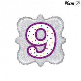 Palloncino Numero 9 Foil Quadrato 46 cm
