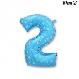 Palloncino Numero 2 Foil Azzurro con Stelle 81 cm