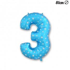 Palloncino Numero 3 Foil Azzurro con Stelle 81 cm