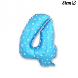 Palloncino Numero 4 Foil Azzurro con Stelle 81 cm