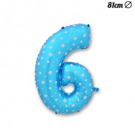 Palloncino Numero 6 Foil Azzurro con Stelle 81 cm