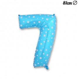 Palloncino Numero 7 Foil Azzurro con Stelle 81 cm