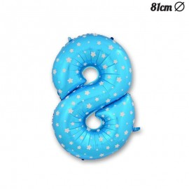Palloncino Numero 8 Foil Azzurro con Stelle 81 cm