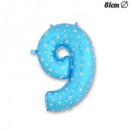 Palloncino Numero 9 Foil Azzurro con Stelle 81 cm