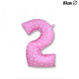 Palloncino Numero 2 Foil Rosa con Cuori 81 cm