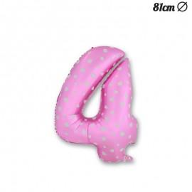 Palloncino Numero 4 Foil Rosa con Cuori 81 cm