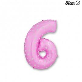 Palloncino Numero 6 Foil Rosa con Cuori 81 cm