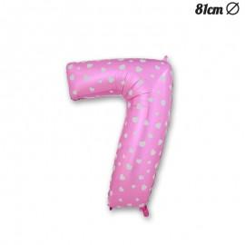 Palloncino Numero 7 Foil Rosa con Cuori 81 cm