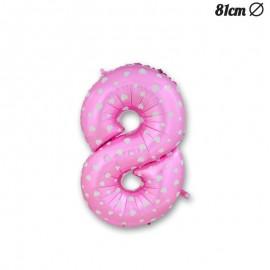 Palloncino Numero 8 Foil Rosa con Cuori 81 cm