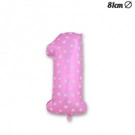 Palloncino Numero 1 Foil Rosa con Cuori 81 cm