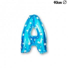 Palloncino Lettera A Foil Azzurro con Stelle 40 cm
