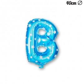 Lettera B Palloncino Foil Azzurro con Stelle 40 cm