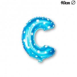 Palloncino Lettera C Foil Azzurro con Stelle 40 cm