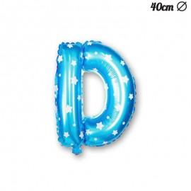 Palloncino Lettera D Foil Azzurro con Stelle 40 cm