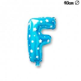 Palloncino Lettera F Foil Azzurro con Stelle 40 cm