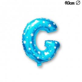 Palloncino Lettera G Foil Azzurro con Stelle 40 cm