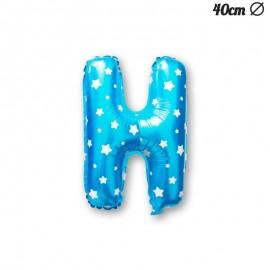 Palloncino Lettera H Foil Azzurro con Stelle 40 cm