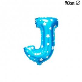 Palloncino Lettera J Foil Azzurro con Stelle 40 cm