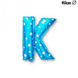 Palloncino Lettera K Foil Azzurro con Stelle 40 cm