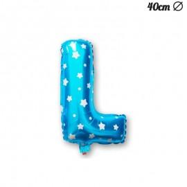 Palloncino Lettera L Foil Azzurro con Stelle 40 cm