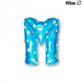 Palloncino Lettera M Foil Azzurro con Stelle 40 cm