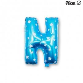 Palloncino Lettera N Foil Azzurro con Stelle 40 cm