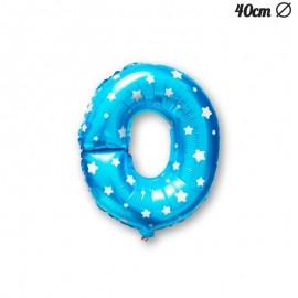 Palloncino Lettera O Foil Azzurro con Stelle 40 cm