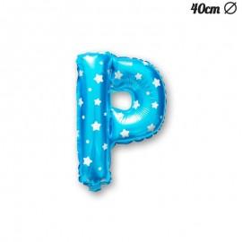 Palloncino Lettera P Foil Azzurro con Stelle 40 cm