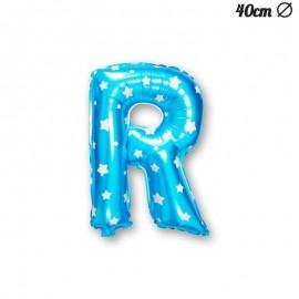 Palloncino Lettera R Foil Azzurro con Stelle 40 cm