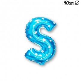Palloncino Lettera S Foil Azzurro con Stelle 40 cm