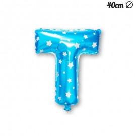 Palloncino Lettera T Foil Azzurro con Stelle 40 cm