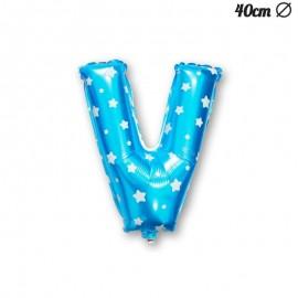 Palloncino Lettera V Foil Azzurro con Stelle 40 cm