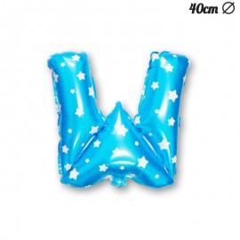 Palloncino Lettera W Foil Azzurro con Stelle 40 cm
