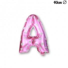 Palloncino Lettera A Foil Rosa con Cuori 40 cm