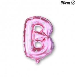 Palloncino Lettera B Foil Rosa con Cuori 40 cm