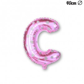 Palloncino Lettera C Foil Rosa con Cuori 40 cm