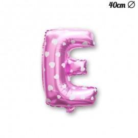Palloncino Lettera E Foil Rosa con Cuori 40 cm