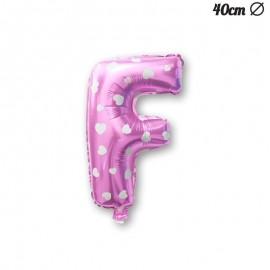 Palloncino Lettera F Foil Rosa con Cuori 40 cm