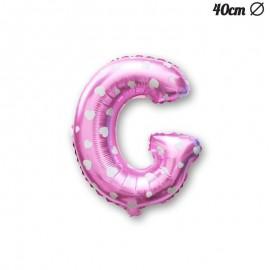 Palloncino Lettera G Foil Rosa con Cuori 40 cm