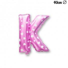 Palloncino Lettera K Foil Rosa con Cuori 40 cm