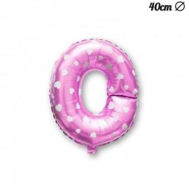 Palloncino Lettera O Foil Rosa con Cuori 40 cm