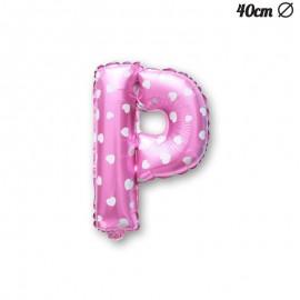 Palloncino Lettera P Foil Rosa con Cuori 40 cm