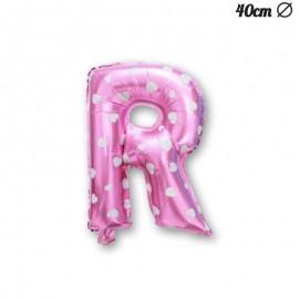 Palloncino Lettera R Foil Rosa con Cuori 40 cm