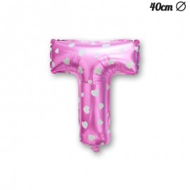 Palloncino Lettera T Foil Rosa con Cuori 40 cm