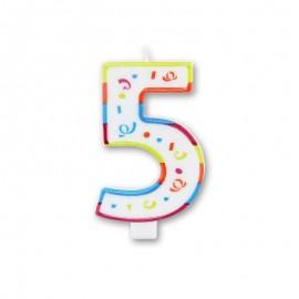 Candela Grande Colorata Numero 5