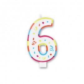 Candela Grande Colorata Numero 6
