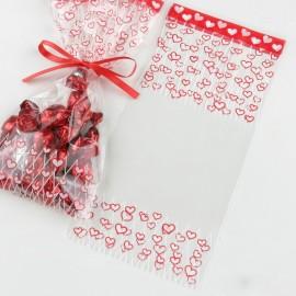 100 Sacchetti a Cuore Rosso 12x25 cm