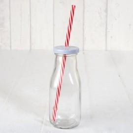 Bottiglie di Vetro Bianche con Cannuccia 6x15 cm